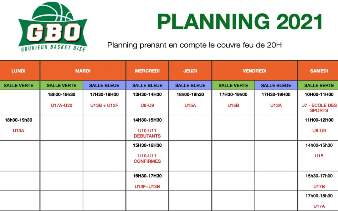Planning provisoire couvre-feu